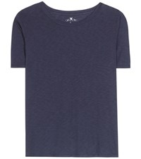 Velvet Lux Cotton Blend T Shirt Blue