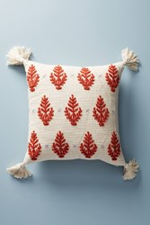 Anthropologie Embroidered Rue Pillow Dark Orange