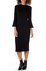Michael Stars Elevated French Terry Bell Sleeve Sheath Dress Black