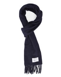 Norse Projects Navy Lambswool Scarf Blue