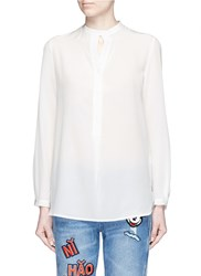 Mo And Co. Keyhole Button Silk Georgette Shirt White