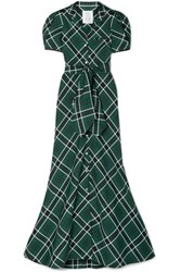 Rosie Assoulin Belted Checked Woven Maxi Dress Dark Green