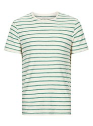 Selected Homme Off White And Green Stripe T Shirt