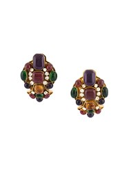 Chanel Vintage Poured Glass Clip On Earrings Multicolour