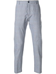 Department 5 Plaid Straight Leg Trousers Blue