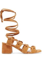 Sandro Andy Lace Up Suede Sandals Light Brown