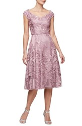 Alex Evenings Embroidered Fit And Flare Dress Mulberry