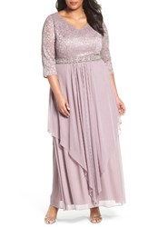 Alex Evenings Plus Size Women's Embellished Lace And Tiered Chiffon Gown
