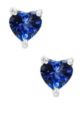 Olivia Leone Sterling Silver Heart Tanzanite Stud Earrings Blue