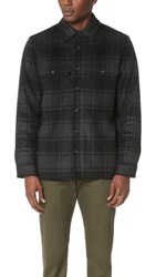 Vince Wool Plaid Military Jacket Black Grey