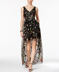 Adrianna Papell Embroidered High Low Gown Black Floral