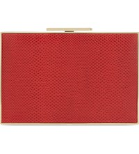 Aspinal Of London Lizard Embossed Leather Box Clutch Berry