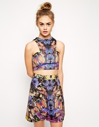 Asos Crop Top With Butterfly Mirror Print Co Ord