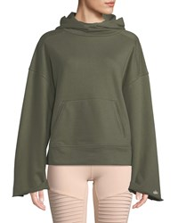 Alo Yoga Low Key Bell Sleeve Pullover Hoodie Green