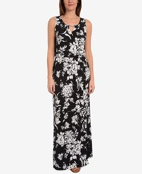 Ny Collection Printed Keyhole Dress Black Tuliptrend