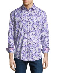 1 Like No Other Floral Pattern Sport Shirt Purple