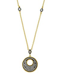 Freida Rothman Pave Crystal Disc Pendant Necklace Women's