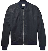 Simon Miller M509 Covey Indigo Dyed Linen And Cotton Blend Bomber Jacket Blue