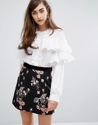 Sister Jane High Neck Shirt With Ruffles White