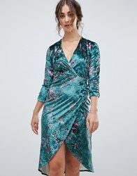 Hope And Ivy Long Sleeve Wrap Front Velvet Midi Dress In Bird Print Green Print Multi