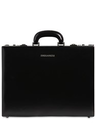Dsquared Leather Briefcase W Webbing Strap Black Fluo
