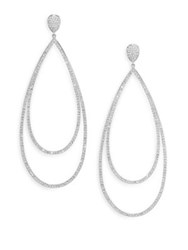 Adriana Orsini Pave Crystal Double Tier Drop Earrings Silvertone
