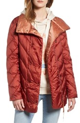 Scotch And Soda Contrast Lining Puffer Coat Terracotta