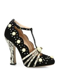 Gucci Ofelia Studded Suede Pumps Black White
