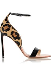 Francesco Russo Leopard Print Calf Hair And Patent Leather Sandals Leopard Print