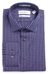 Calibrate Men's Big And Tall Trim Fit Non Iron Check Dress Shirt Purple Sparkle