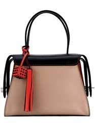 Tod's Tri Colour Tote Bag Women Calf Leather One Size Black