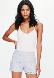 Missguided Premium Blue High Waisted Lace Shorts
