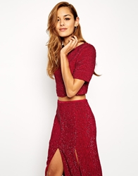 Asos All Over Sequin Co Ord Top Red