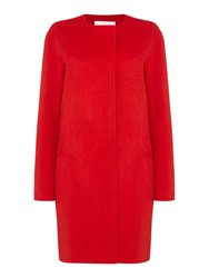 Hugo Boss Double Faced Wool Coat With Round Neck Red