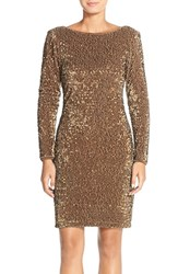 Women's Chetta B Sequin Velvet Sheath Dress Bronze
