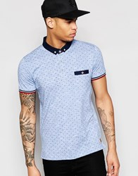 Brave Soul Small Geo Print Polo Shirt Blue
