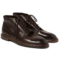 Dolce And Gabbana Brogue Detailed Leather Boots Brown
