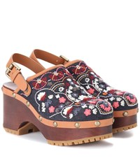 See By Chloe Embroidered Denim Sandals Multicoloured