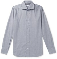 Loro Piana Slim Fit Prince Of Wales Checked Brushed Cotton Shirt Blue