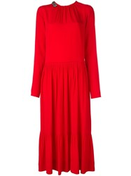 N 21 No21 Embellished Collar Midi Dress Red