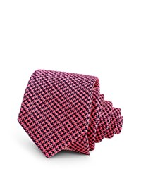Thomas Pink Coniston Houndstooth Check Skinny Tie Red Navy
