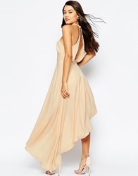 Asos Premium Occasion Maxi Playsuit With Drape Back Nude Pink