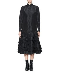 Olivier Theyskens Taftas Silk Taffeta Shirtdress W Tiered Ruffles Black
