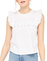 Miss Selfridge Roundneck Sleeveless Solid Ruffled Top White