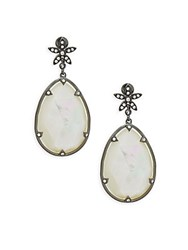Saks Fifth Avenue Mother Of Pearl Hematite And Crystal Drop Earrings White
