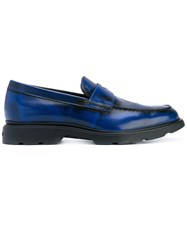 Hogan Classic Loafers Men Leather Rubber 6.5 Blue