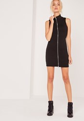 Missguided Zip Front Ribbed Mini Dress Black Black