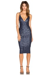 Nookie Starstruck Sequin Slip Dress Navy