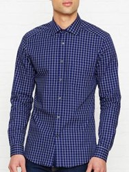 Reiss Madano Formal Check Long Sleeve Shirt Navy