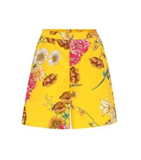Gucci Floral Printed Cotton Shorts Yellow